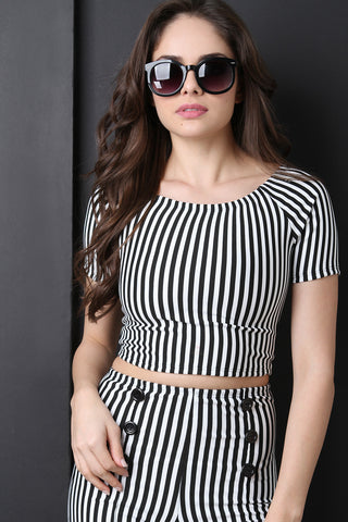 Vertical Stripe Scoop Neck Crop Top