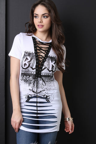 Back To Back Graphic Shredded Lace Up Top