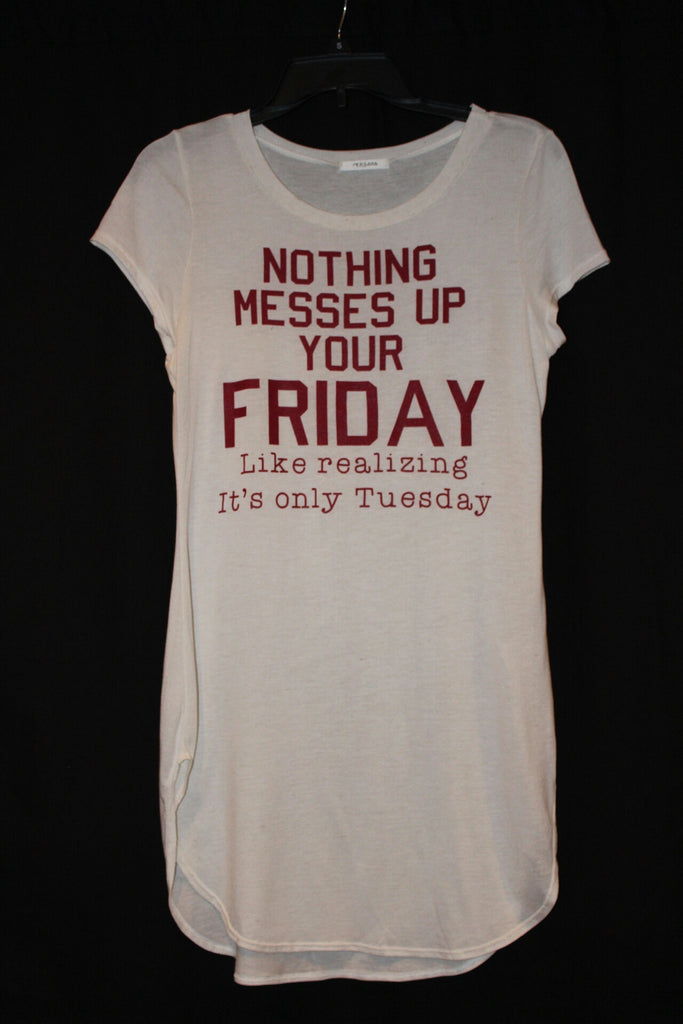 Short Sleeve Hi-Low Side Slit Nothing Ruins Friday More Than Realizing it's Only Tuesday Graphic Top- Oatmeal