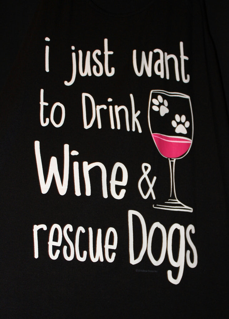 Racer Back Drink Wine and Rescue Dogs Tank Top