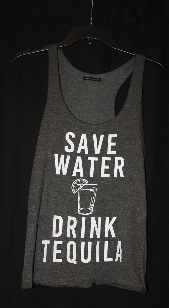 Racer Back Save Water Drink Tequila Graphic Tank Top Charcoal