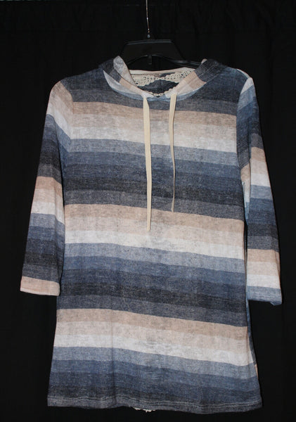 Women's Striped Hooded Top