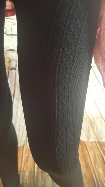 Womens Black textured leggings