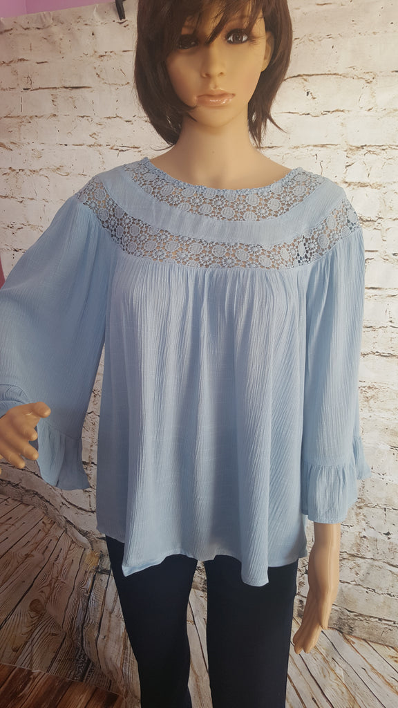 Baby Blue 3/4 Sleeve Top