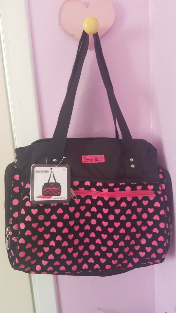 Women Baby Diaper Bag Pink and Black Hearts