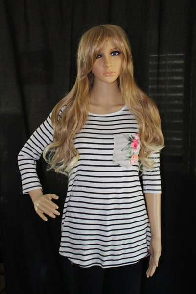 Women's 3/4 Striped and Floral Top Taupe