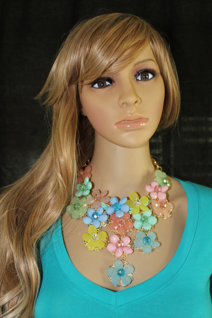 Women's Large Colorful Flower Statement Necklace