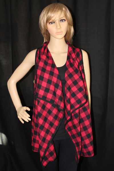 Women's Red and Black Plaid Print Vest