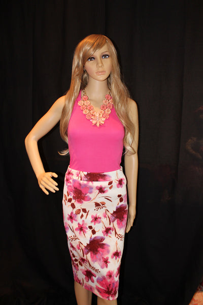 Women's Floral Pencil Skirt Ivory