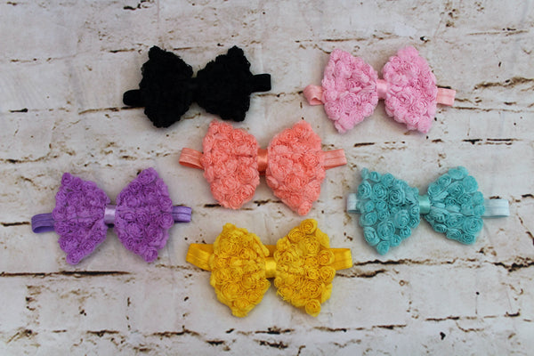 Baby Bows with Rose's: Purple, Peach, Black, Turquoise, Yellow, Pink