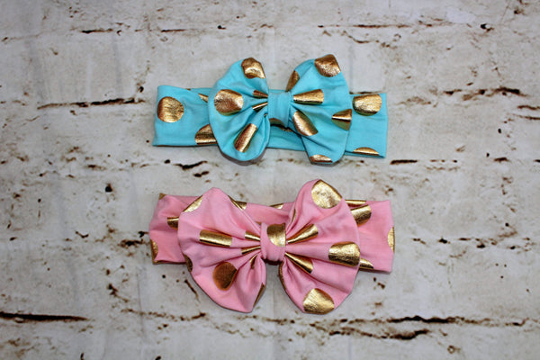 Gold Polka Dot Bows in Pink & Turquoise