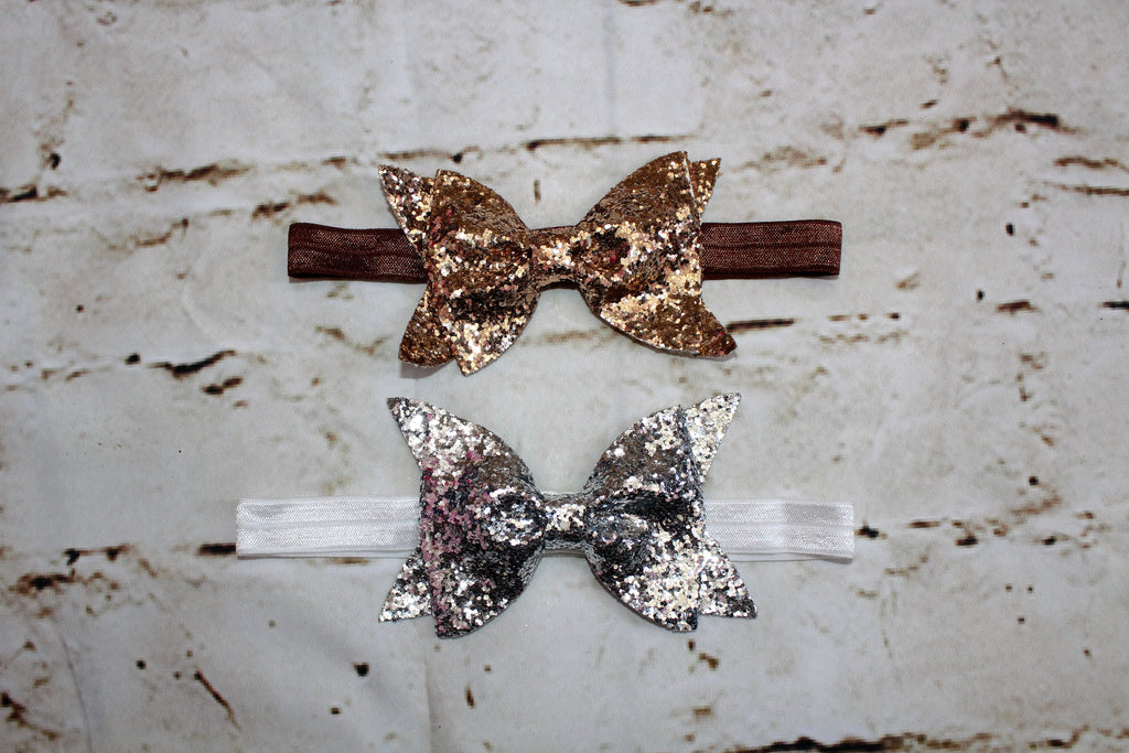 Sparkle Glitter Bow in Silver and Gold