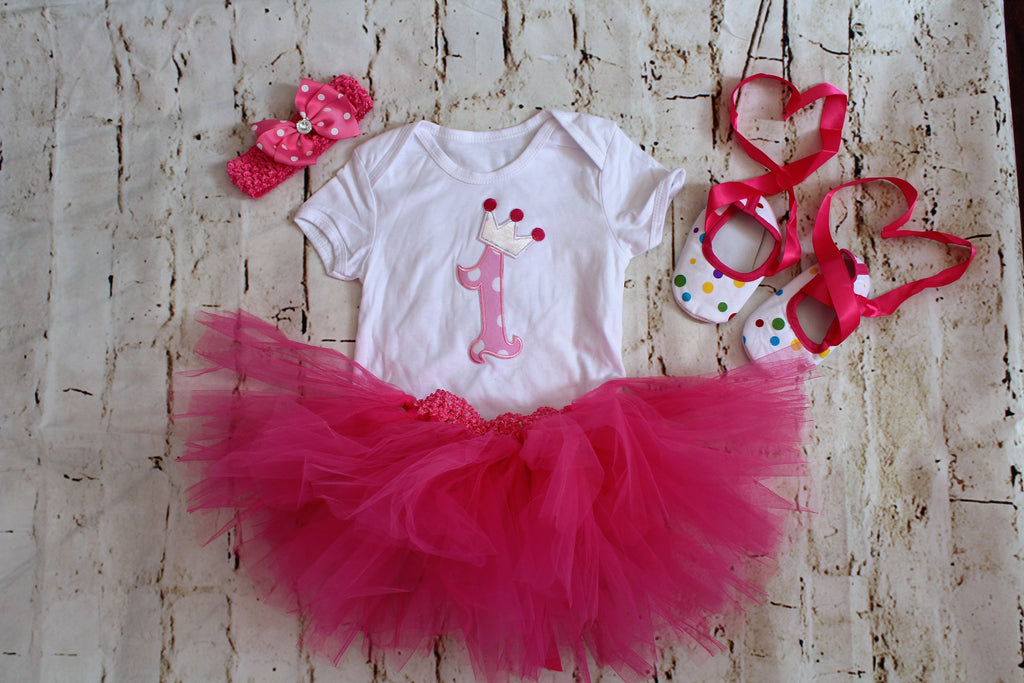 Baby Milestone 1 One Year Old Pink Birthday Tutu Outfit
