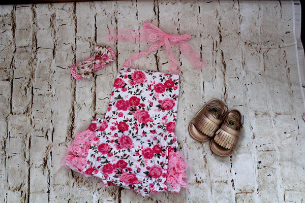 Baby Floral Lace Halter Top Outfit with Bow