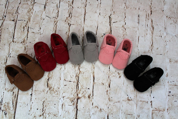 Baby Moccasin Shoes: Pink, Grey, Brown, Black, Red