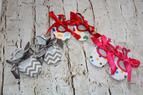 Baby Ballerina Shoes: Chevron print, Polka-dot, Hearts