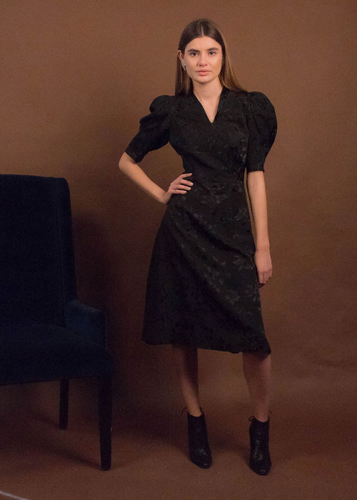 40s Black Floral Brocade Dress