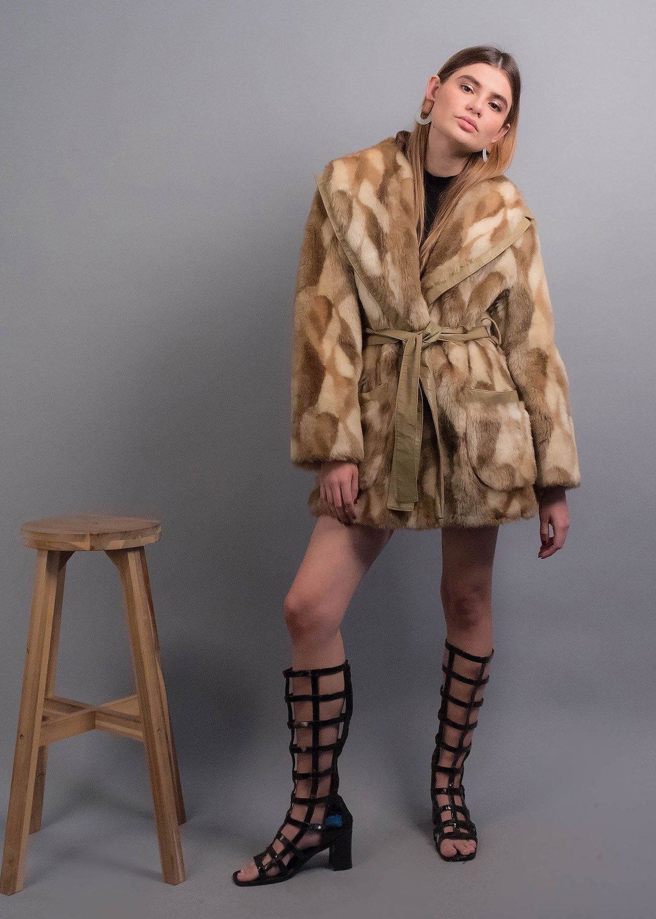 60s Patchwork Faux Fur Coat