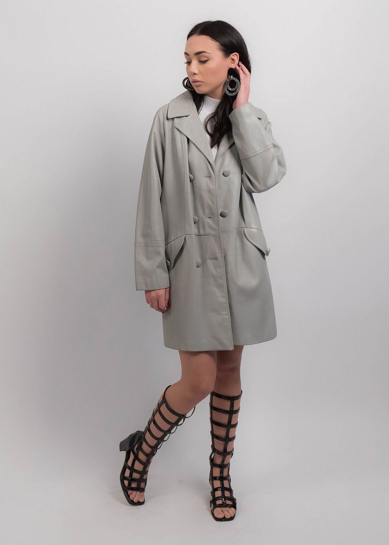 60s Leather Gray Mod Coat
