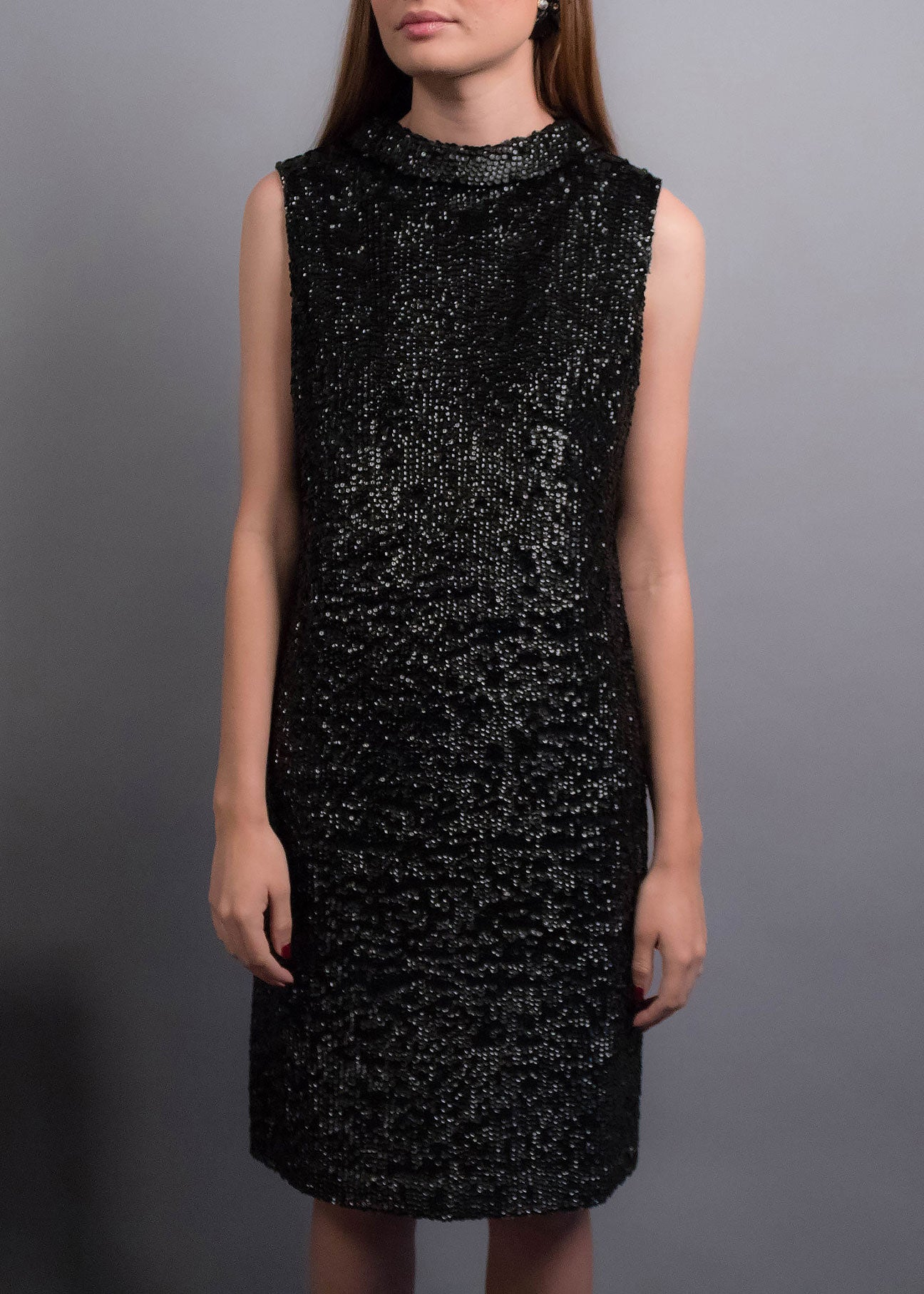 60s Black Sequins Dress