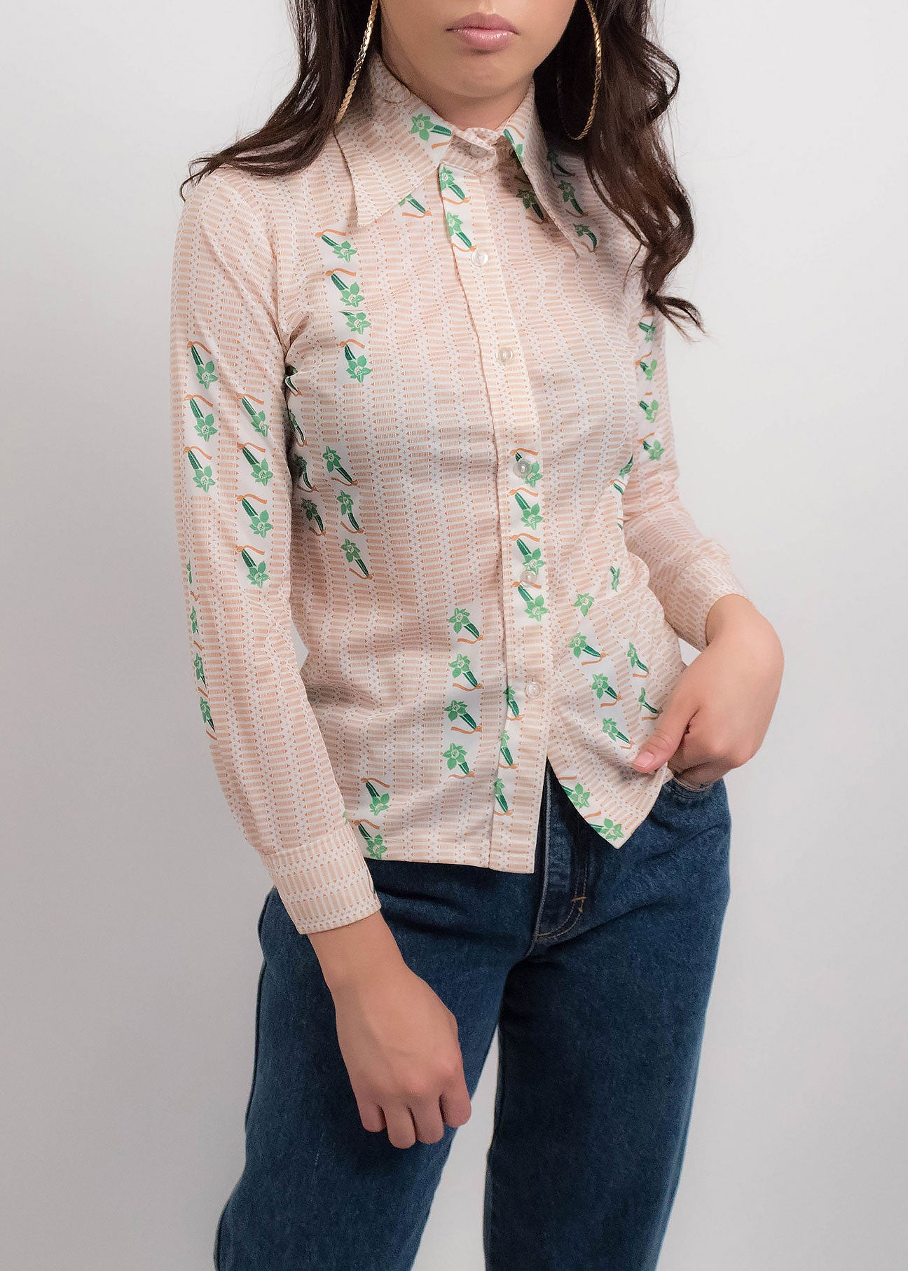 70s Floral Abstract Top