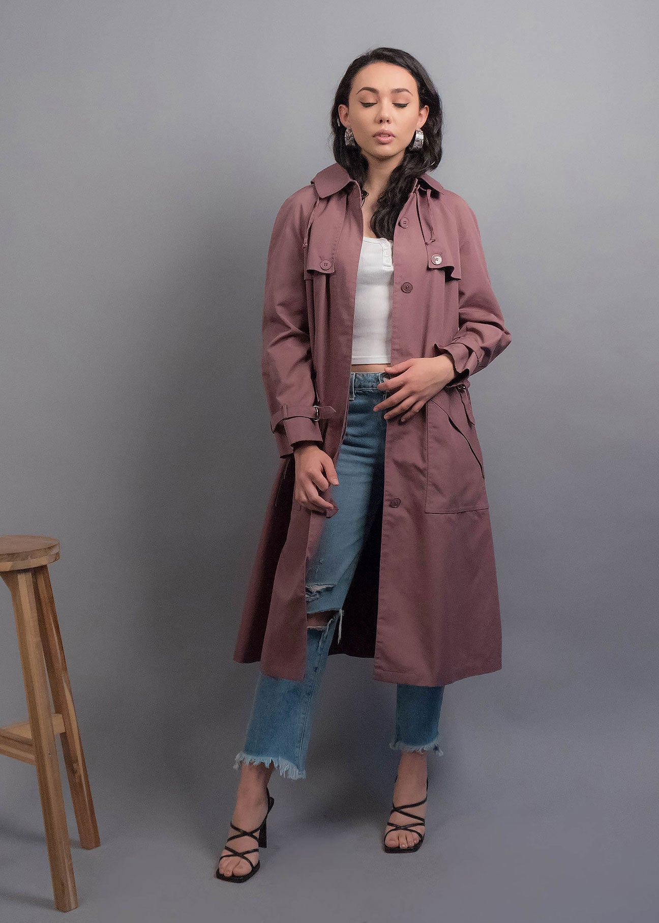 70s Hooded Trench Coat