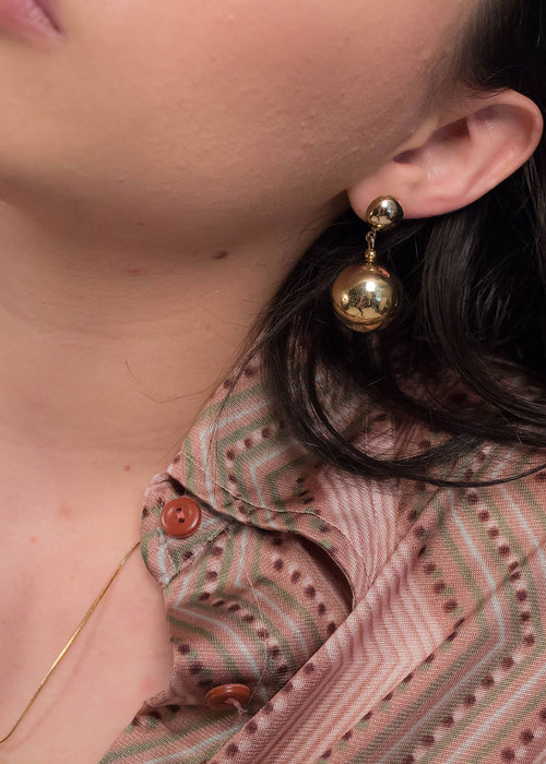 80s Gold Ball Drop Earrings