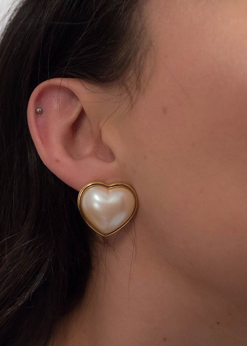 80s Faux Pearl Heart Earrings