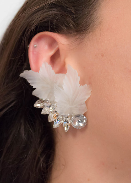 80s Frosted Floral Lucite Statement Earrings