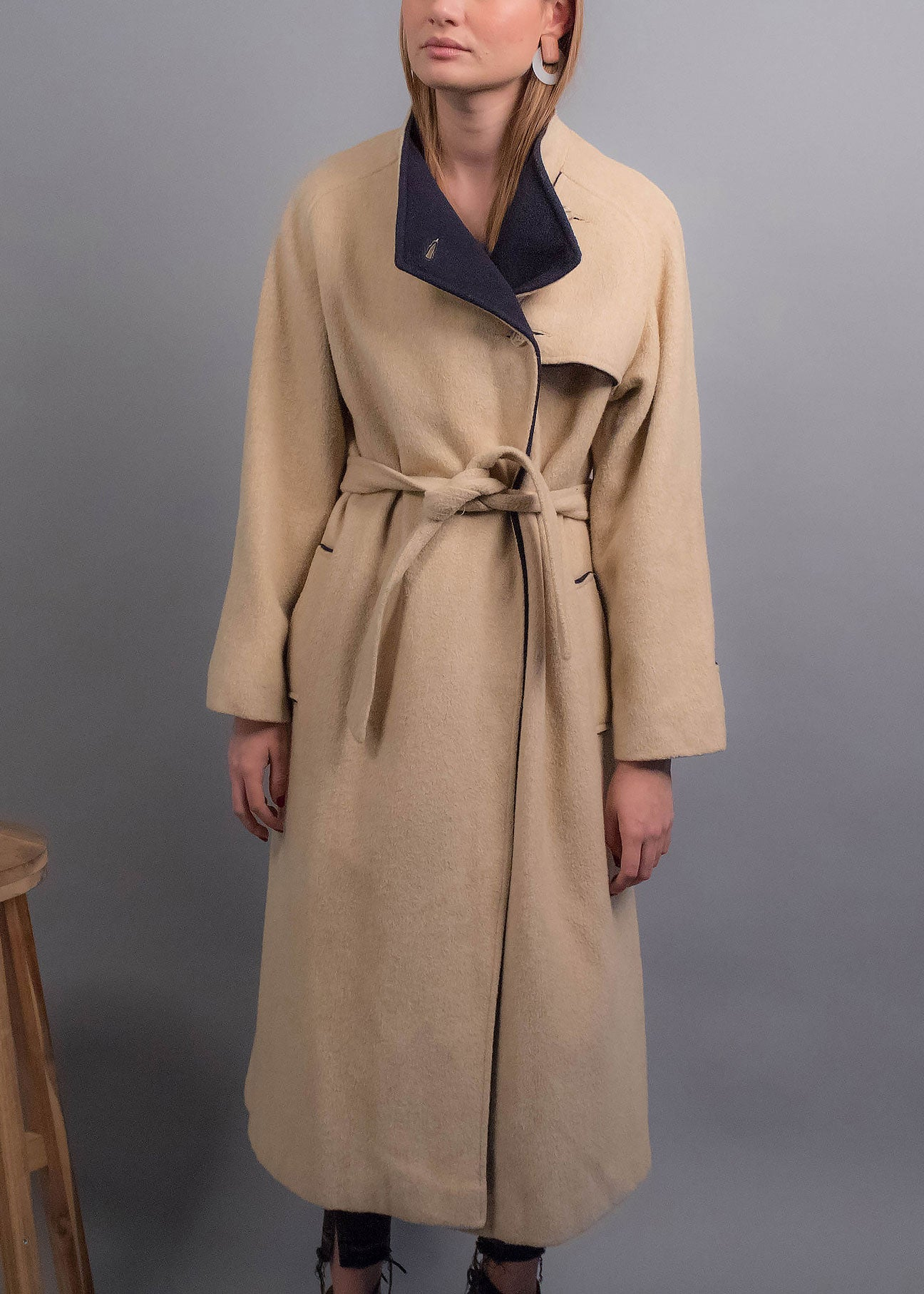 80s Asymmetrical Khaki Wool Coat