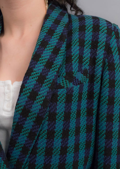 80s Plaid Tweed Blazer