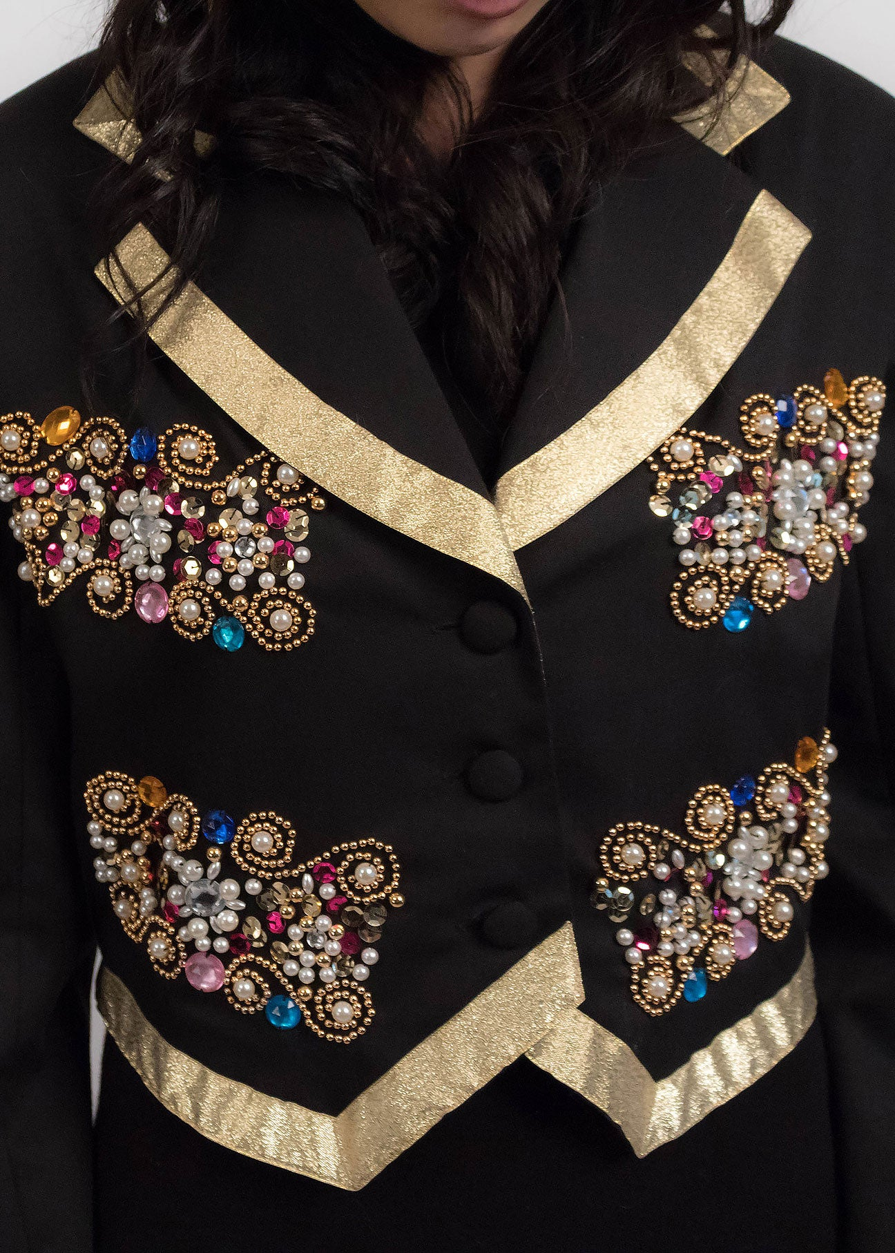 80s Beaded Cropped Blazer
