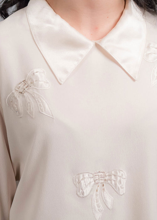 80s Crepe de Chine Beaded Blouse