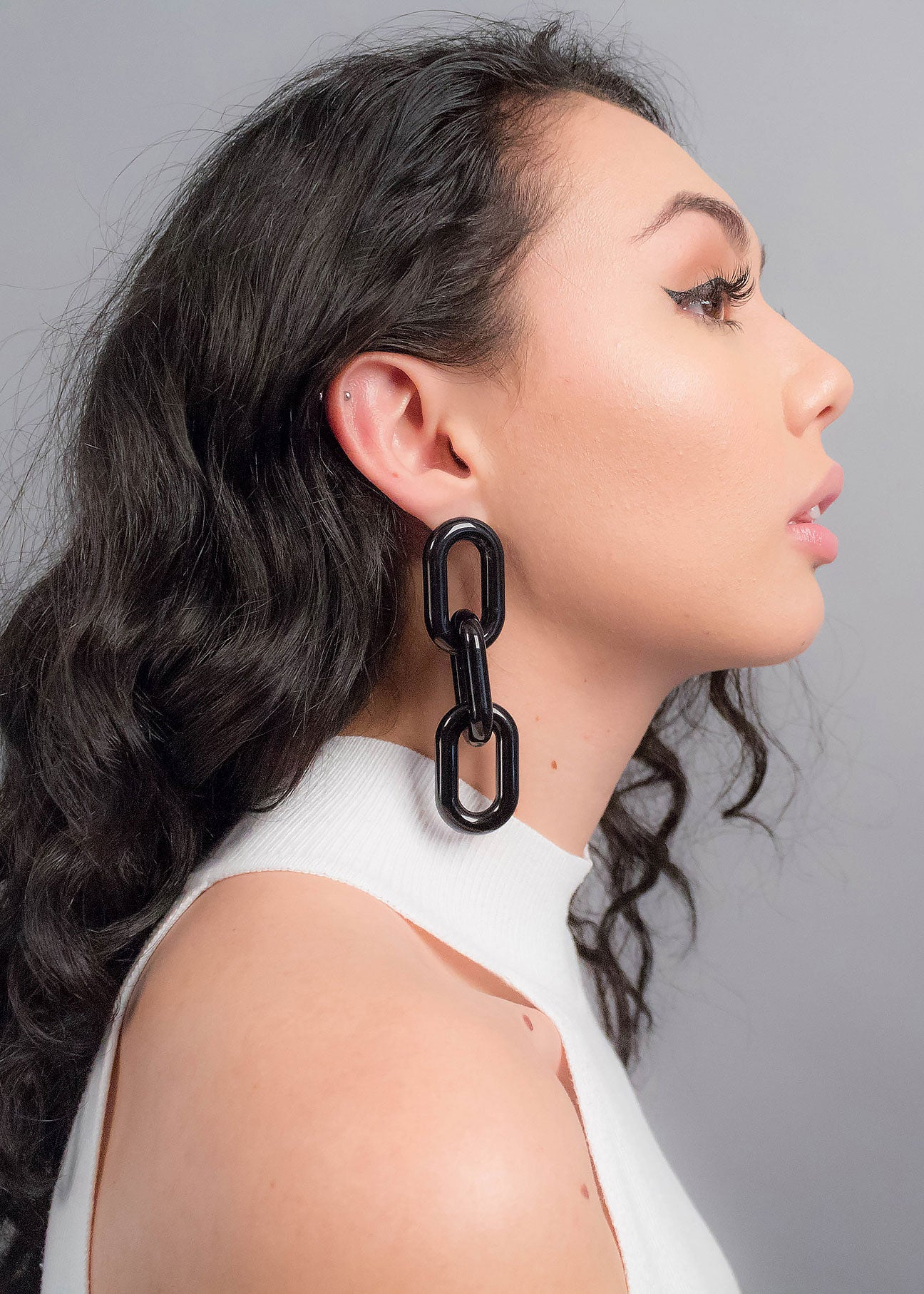 Long Black Chain-Link Acrylic Earrings