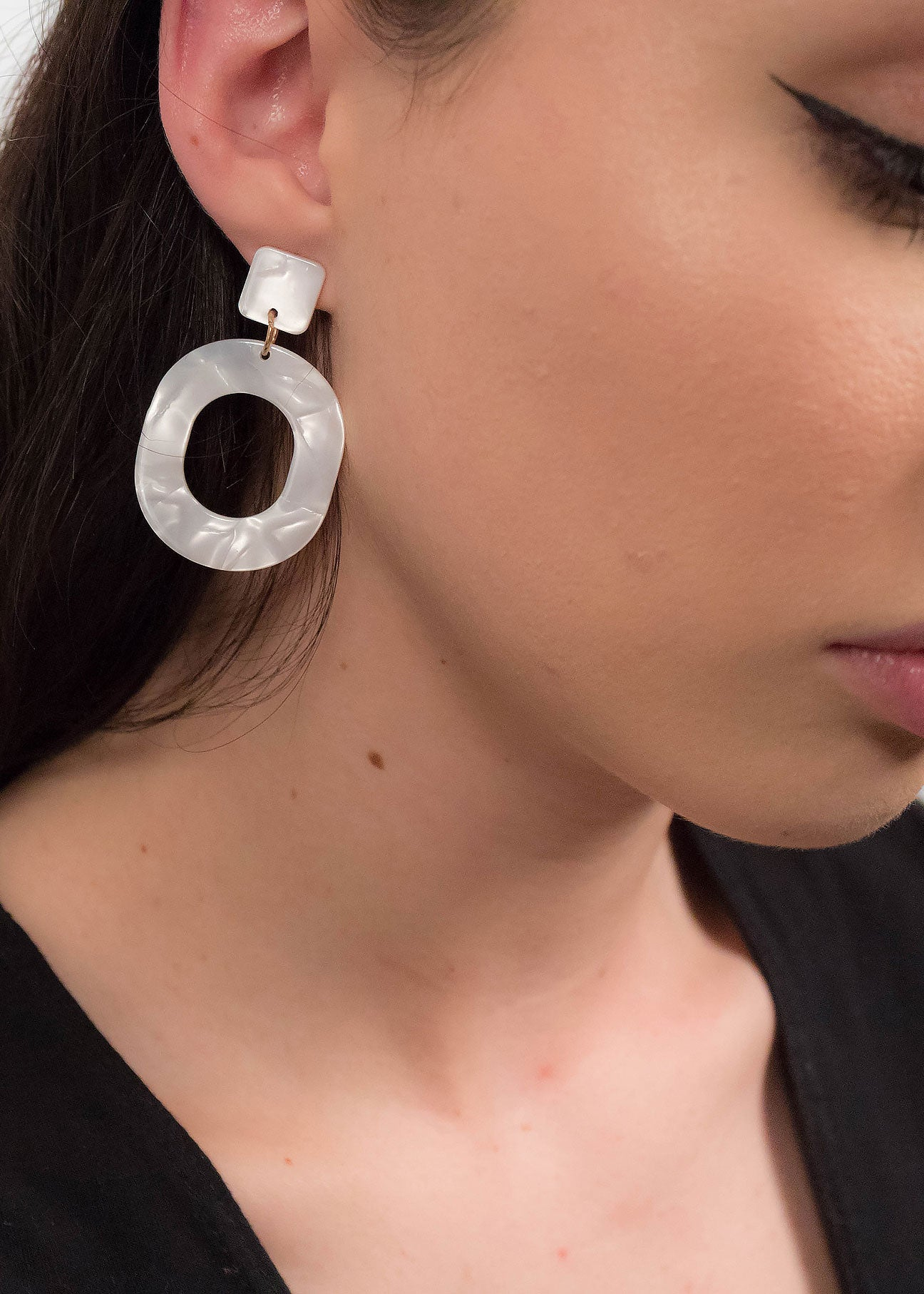 White Geometric Acrylic Earrings