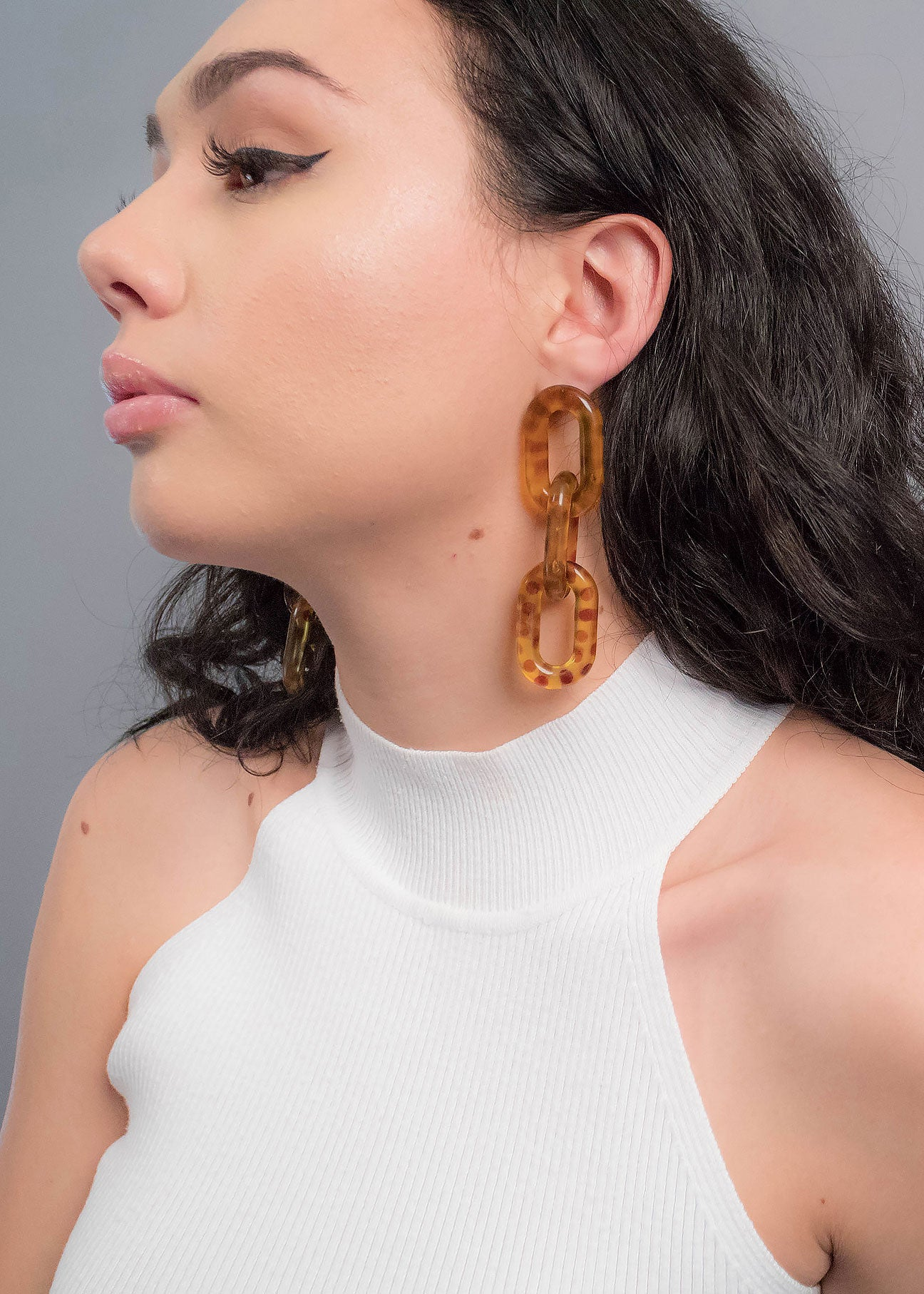 Leopard Chain-Link Acrylic Earrings