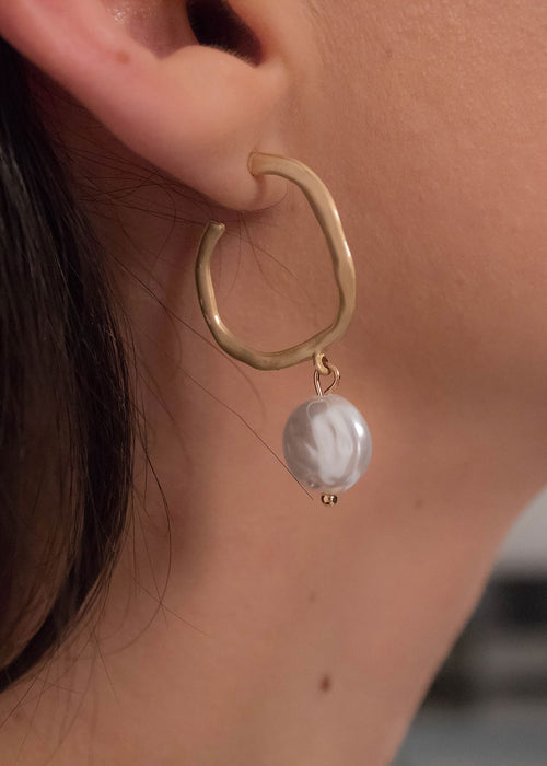 Hammered Hoop Faux Pearl Earrings