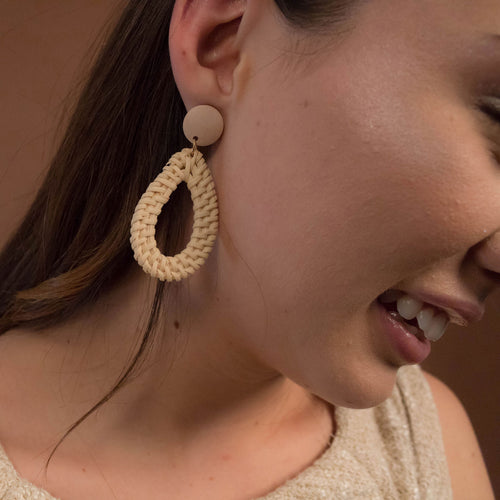Natural Rattan Geometric Earrings