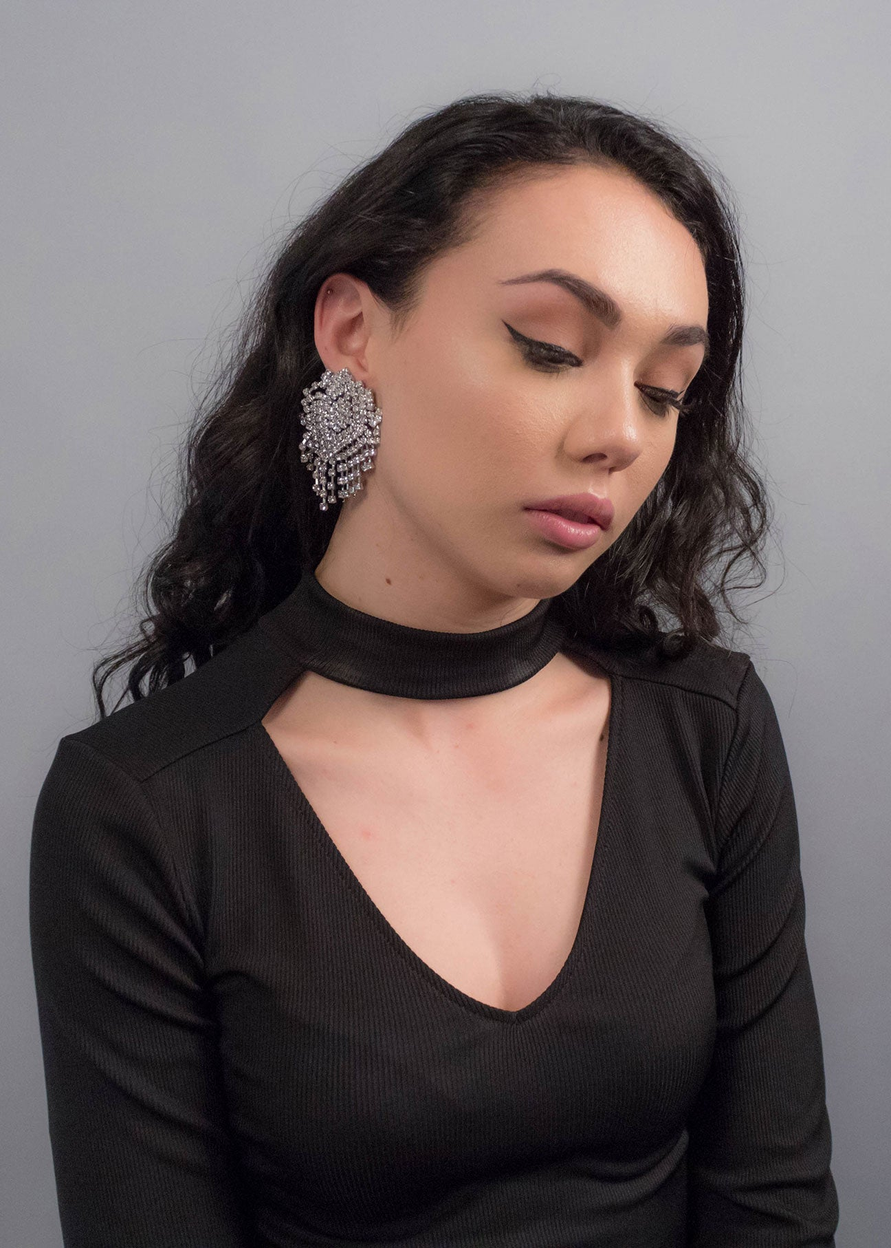 Oversized Silver Rhinestone Statement Earrings