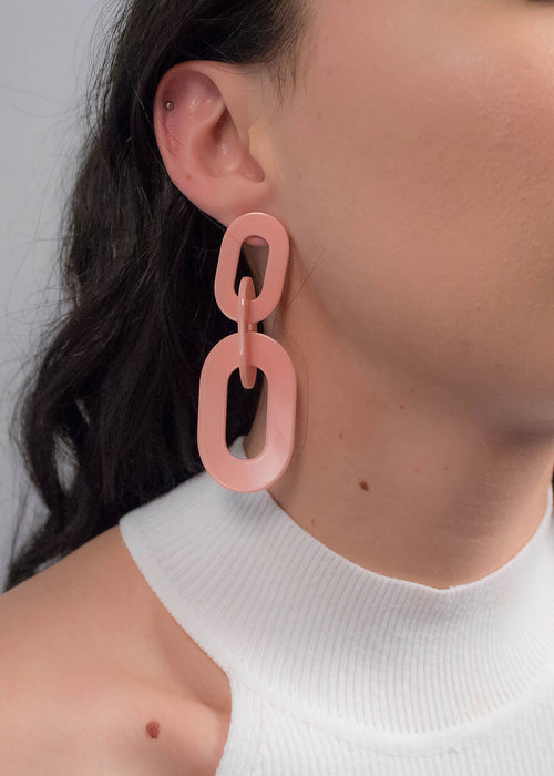 Pink Chain-Link Acrylic Earrings