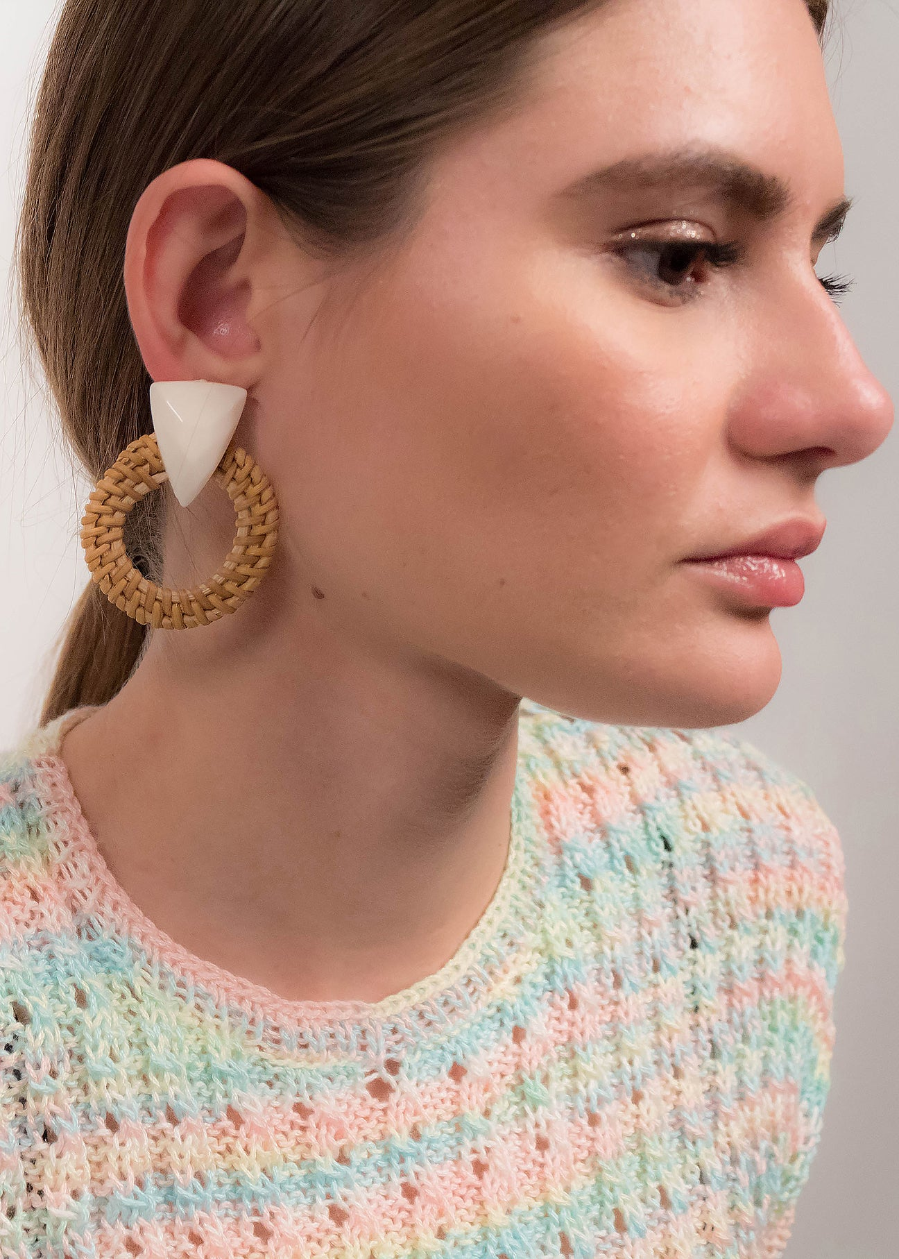 Acrylic Triangle Rattan Statement Earrings