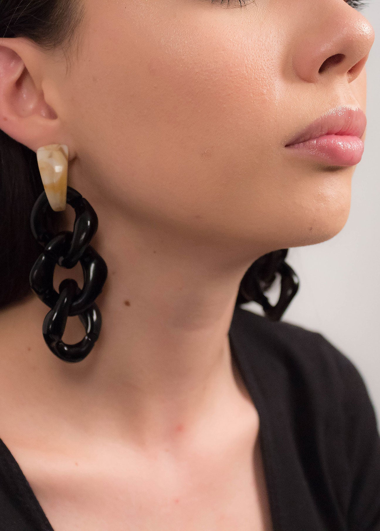 Long Chain-Link Acrylic Earrings