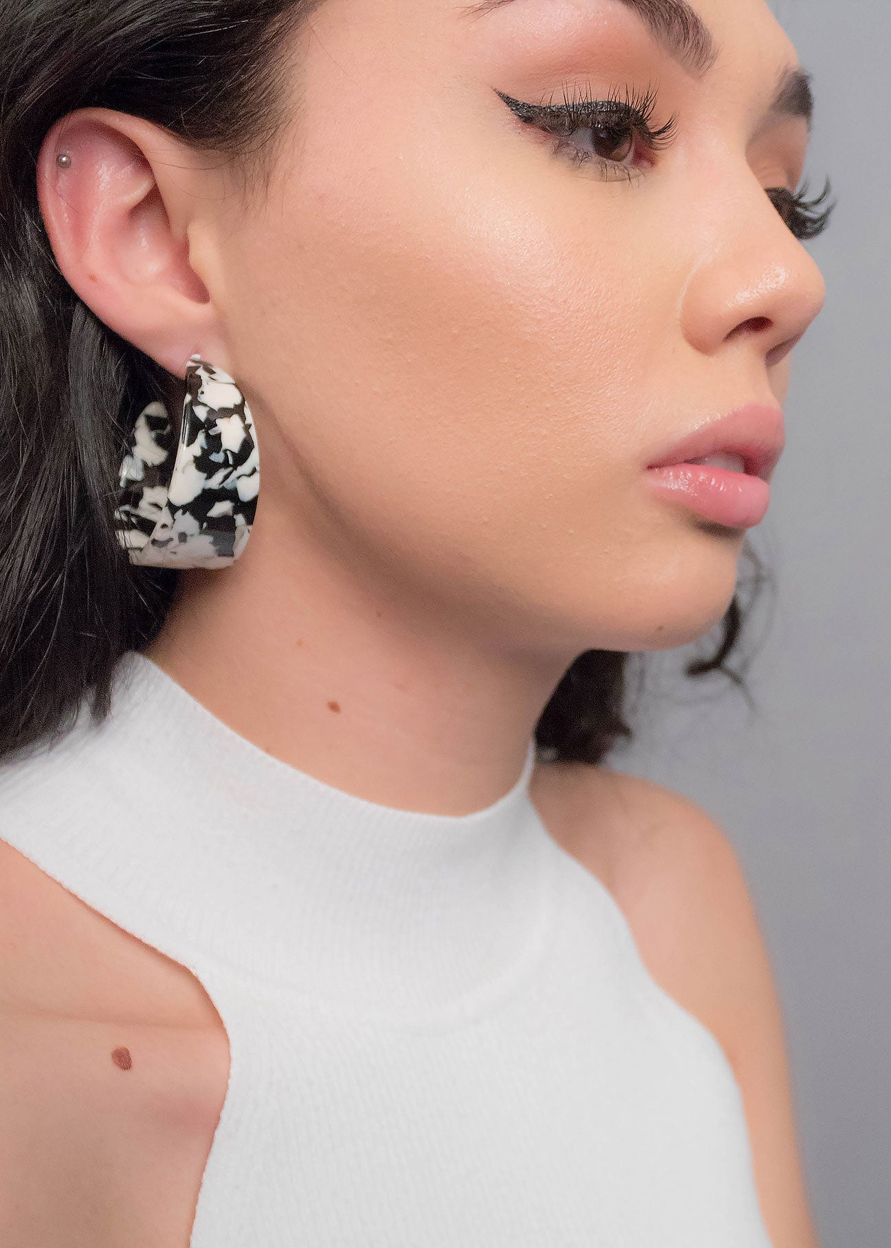 Black & White Marble Hoop Earrings