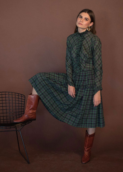 40s Plaid Ruffle Dress