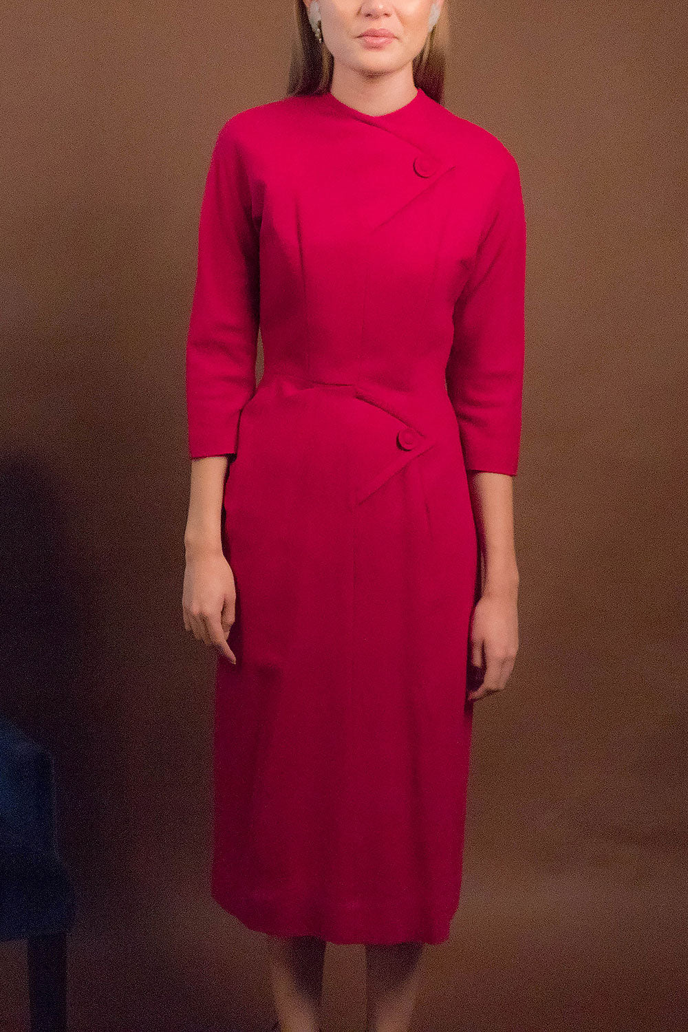 40s Wool Fuchsia Dress
