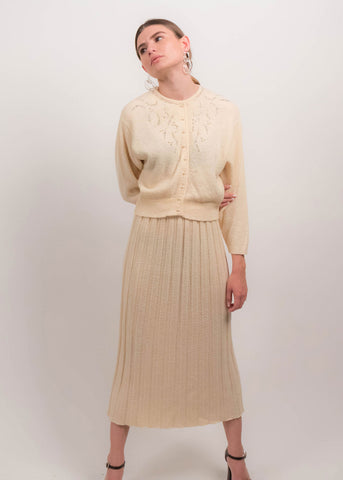 60s Ruffled Plisse Pleated Maxi Dress