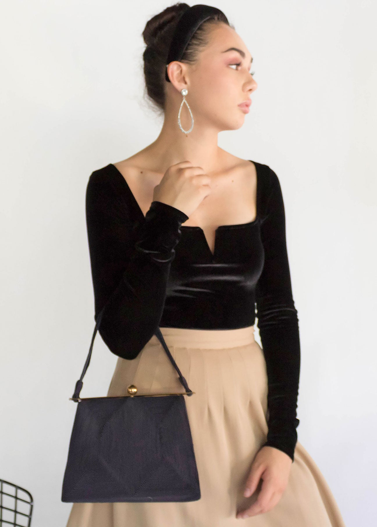 50s Gold & Black Corde Handbag