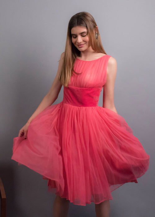 50s Hot Pink Tulle Dress