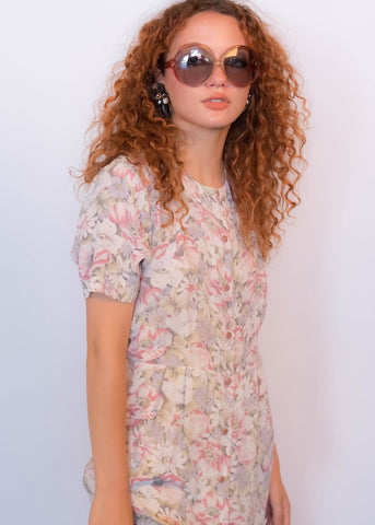 90s Floral Jacquard Satin Dress
