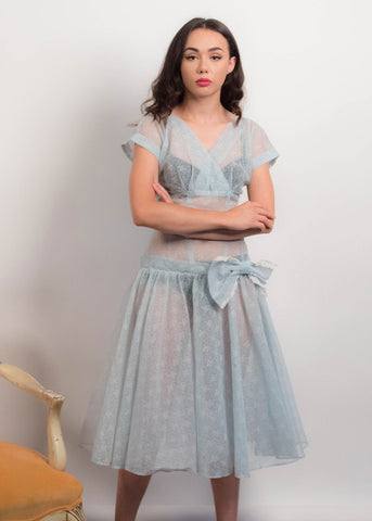 80s Organza Puff Sleeve Dress